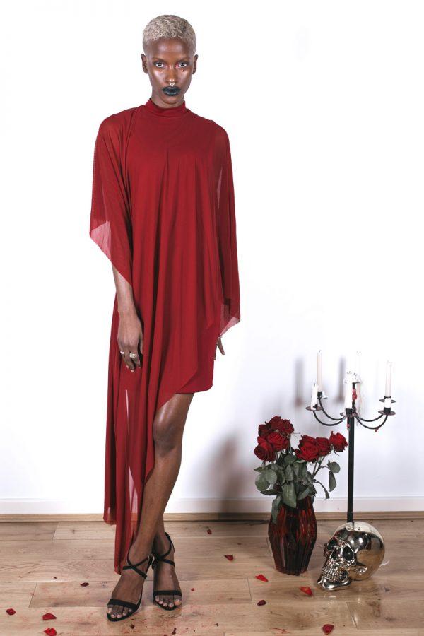 Veil Dress - Crimson4